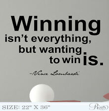 Vince Lombardi WINNING Wall Vinyl Decal sticker Famous quote football Success