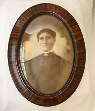 1920 Convex Domed Glass Painted Tiger-Grain Frame Sepia Photo of Suffragett Lady