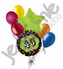 7 pc Festive 40th Happy Birthday Balloon Bouquet Party Decoration Thirty Green