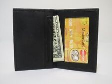 New Men's Thin Black Genuine Leather Bifold Wallet, ID Credit Card Money Holder.