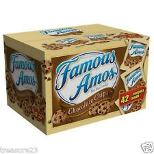 Famous Amos Chocolate Chip Cookies 42 snack packages x 2 oz each = 84oz - NEW