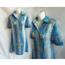 Vintage 70s Shirt Dress size L Blue Floral silk Chiffon Asian 80s Shift A line