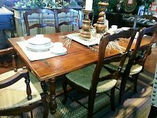 Oak Dining Table Set with Bench and 4 Ladder back side chairs Flip Top Folding