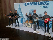 "THE BEATLES ""LEAD"" HAND PAINTED FIGURES ""HAMBURG"" FIVE BEATLES + BACKING CARD"
