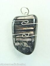 """1.2""""/31mm Hypersthene sterling silver wire wrapped Pendant  #1218"""