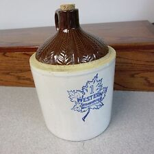 Vintage Western Stoneware Co. 1-Gallon Crock Jug : with Fern Pattern Upper