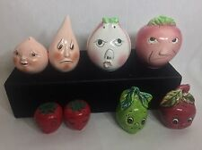 Vintage Retro 4 Sets Anthropomorphic Fruit Kitschy Salt & Pepper Shaker LOT