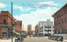 c.1910 Stores Early Cars San Francisco St. looking East El Paso TX post card