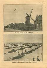 Windmill Netherlands/Fleet of Royal Navy Spithead Hampshire UK 1911 ILLUSTRATION
