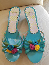 DESIGNER ~ MOSCHINO Turquoise Leather slide sandals ~ AWESOME! - sz 41 (9.5 M)