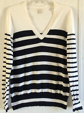 J Crew Double Striped V-Neck Sweater Navy White Pullover Long Sleeve Cotton M