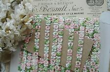 1y VTG TINY PINK GREEN FLOWERS SCHIFFLI VENISE FRENCH DOLL APPLIQUE RIBBON TRIM