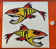 ANGRY FISH STICKERS 10 year vinyl eco solvent inks FADE AND WATERPROOF