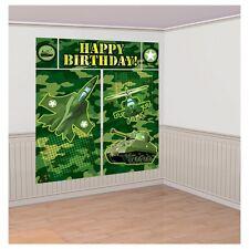 Fiesta Cumpleaños Ejército Decoración De Pared Verde Camuflaje Camo Escena