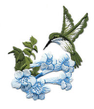 Hummingbird - Bird - Garden - Blue Flower - Iron On Applique Patch - Left