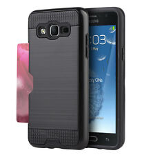 For Samsung Galaxy On5 G550 - HARD & SOFT HYBRID COVER SKIN CASE BLACK CARD SLOT