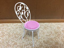 2007 Barbie Doll My Dream House Home Pink White Vanity Chair Bedroom Furniture