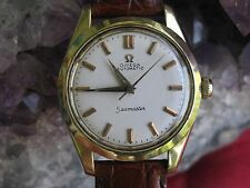 Omega Seamaster Vintage Gold-on-Steel Automatic Wrist Watch, Gold Sea-Horse Logo