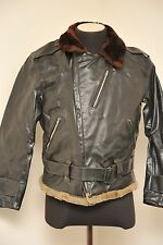 VINTAGE 1950S BELSTAFF PVC MOTORCYCLE JACKET BLACK SMALL - MEDIUM & BELT EZ36