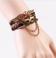 NEW Infinity Crown Masks Pearl Friendship Leather Charm Bracelet Copper Cute !!