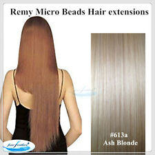 "22""India Remy Micro Beads Hair extensions 25pcs #613a Ash Blonde DOUBLE DRAWN"