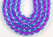 50 Fire Polished Czech Faceted Purple Lilac in Aqua Lined Glass Craft Beads 6mm