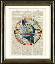 Old Antique Book page Art Print - Vintage Celestial Globe Dictionary Wall Art
