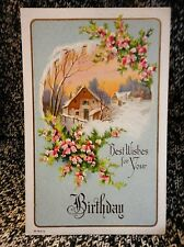 Post Card Birthday Floral Home used Art B-641/2 1907-15's Vintage