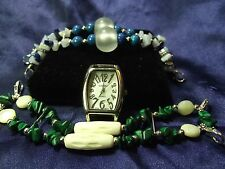 Kessaris Woman's Watch with 2 Bands **Semi Precious Stones** ME 032