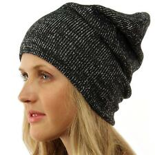 Winter 2ply Warm Thight Knit Slouch Long Beanie Skully Ski Hat Cap Korea Black