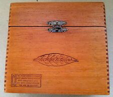Bayuk Philadelphia Longfellow Wood Dovetailed Hinged Cigar Advertising Box 1920s