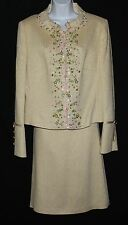 ESCADA Incredible Embroidered Beaded Gold Woven Skirt Suit Sz 40/42 10 12