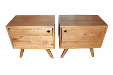 Pair of Oak timber retro danish scandi bedside tables bedsides lockers
