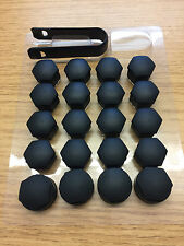 20x Audi Alloy Wheel Nut Caps Bolt Covers with Removal Tools 17mm.(MATTE BLACK )