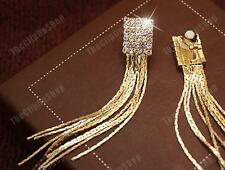 "CLIP ON slinky CRYSTAL 8cm 3""long LIQUID GOLD FASHION EARRINGS square rhinestone"