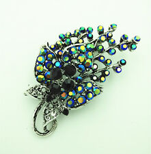 Vintage Style Black & Colourful Stones Bouquet Flower Brooch Pin BR258