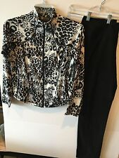 M Black &White Leopard Print Zip Front Jacket & Best Selling Woven Stretch Pant