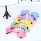 Men Women Reflective UV400 Aviator Sunglasses Colorful Lens Metal Frame Glasses