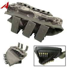 Tactical Rifle Buttstock Ammo Pouch Shotgun Shell Holder w/Cheek Pad Airsoft ACU