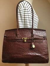 Vintage Mulberry Congo Nile leather Kelly lge structured shoulder briefcase bag