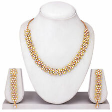 Indian Bollywood Fashion Gold Plated Diamond Necklace Earring Party Jewelry Set