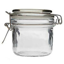 LOT OF 3 CLEAR GLASS JAR AIRTIGHT Metal Clamp BPA Free REUSABLE CHEFS JAR 8 OZ