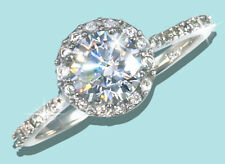 1 ct Halo Ring Russian Quality CZ Simulated Mossanite Imitation SS 1.5 tw. Sz 4