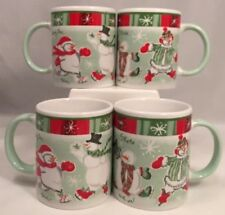 Set Of 4 Avon 2003 China Christmas Cups Mugs Skating Snowmen Green Red