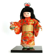 "Japanese 10.25""H Kimono WARABE Cloth Doll Girl w/ TEMARI Ball, Made in Japan"