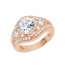 Sterling Silver Rose Gold Plated Multi Shaped Clear Dome ring W/ DIAMONDS/sz 5-9
