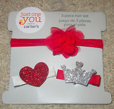 CARTER'S JUST ONE YOU BABY 3 PC. SET-GLITTERY HEART, CROWN, & HEADBAND-NWT!