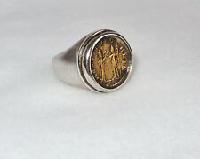 Silpada Sterling Silver Roman Brass Coin Replica Ring Size 7 R1630 Retired