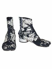 MAISON MARTIN MARGIELA 90s Painted Tabi Boots SIZE 39 IT Shoes White Black RARE