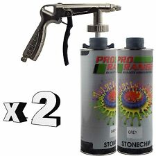 Pro Range 2 x 1 Litre Grey Stone Chip + Spray Gun Can be over Painted Paintable